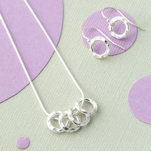 40th Birthday Four Silver Rings Necklace - necklaces & pendants