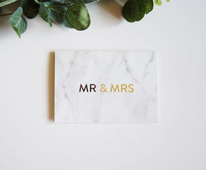Modern Marble Anniversary Wedding Gold Card