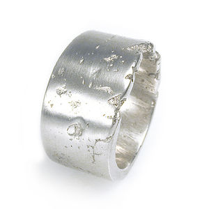 Wide Silver Concrete Ring