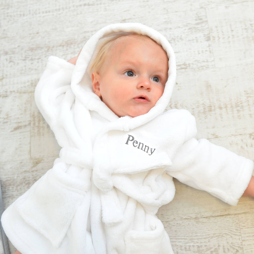 ec81478fd personalised soft baby dressing gown in white by a type of design ...