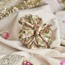 Silk Scrunchie 'Botanical Tartan'