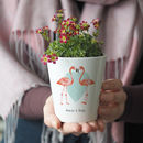 Personalised Flamingo Couple Plant Pot With Seeds