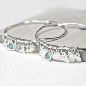 Personalised Sisters Heart Bangle