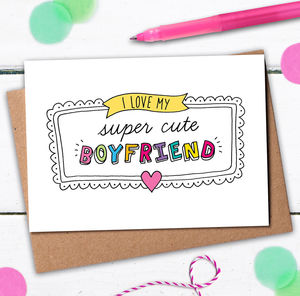 Super Cute Boyfriend Card - winter sale