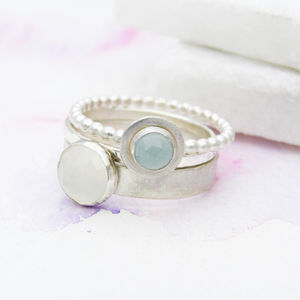 Moonstone And Aquamarine Stacking Rings - june birthstone