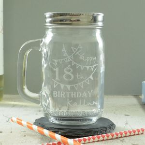 18th Birthday Personalised Engraved Kilner Drinking Jar - 18th birthday gifts