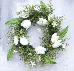 White Spring Door Wreath In Faux Flowers - wreaths