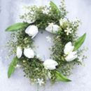 White Spring Door Wreath In Faux Flowers