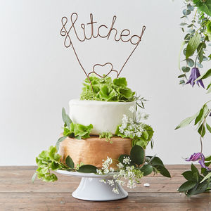 Hitched Wire Wedding Cake Topper