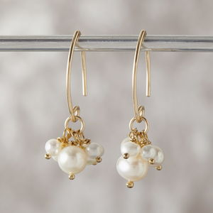 Mini Gold Pearl Cluster Earrings - earrings