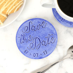 Personalised Ceramic 'Save The Date' Coaster