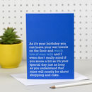 'Watch Lots Of Man Telly' Birthday Card