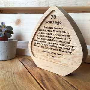 Personalised Oak 70th Birthday Anniversary Award Plaque - decorative accessories