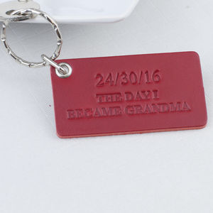 The Day I Became Grandma Personalised Leather Keyring