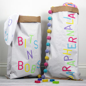 Pastel Personalised Toy Storage Sack