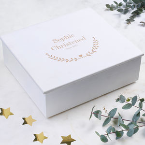 Personalised Christening Keepsake Box With Heart Design