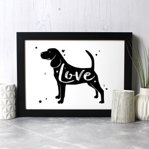 Beagle 'Love' Print - new in prints & art