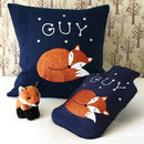 Scandi fox cushion and hot water bottle