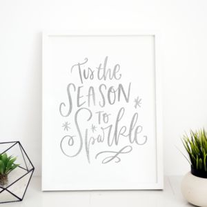 Christmas Sparkle Typography Foil Print - view all new