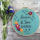 Hand Embroidered Personalised Floral Hoop