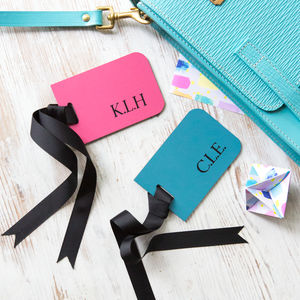 Personalised Leather Luggage Tags - frequent traveller