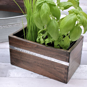 Personalised Wooden Herb Planter With Growing Kit - pots & planters