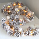 Whitewashed Pine Cone Assortment Light Garland