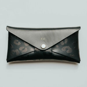 Personalised Black Leopard Print Leather Envelope Purse