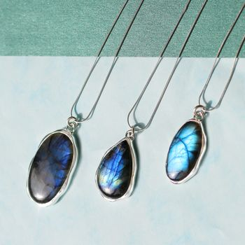 Electric Labradorite Statement Silver Necklaces