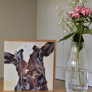 Ruby Ayrshire Cow Greetings Card - blank cards