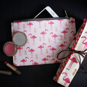 Flamingo And Pineapple Vegan Leather Clutch Bag