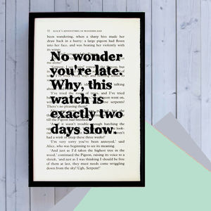 'No Wonder You're Late' Alice Book Page Print