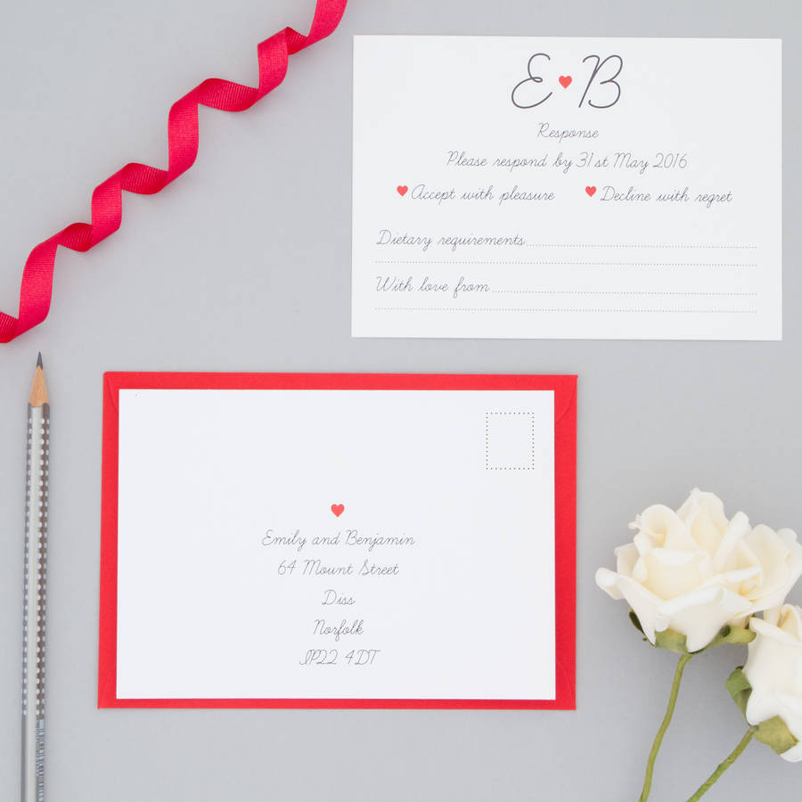 red heart wedding invitation and rsvp by the two wagtails ...