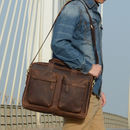 Front Pockets Leather Laptop Brief