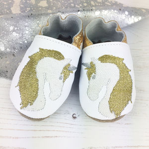 Personalised Metallic Unicorn Baby Shoes - unicorns
