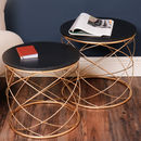 Contemporary Black And Gold Abstract Round Tables