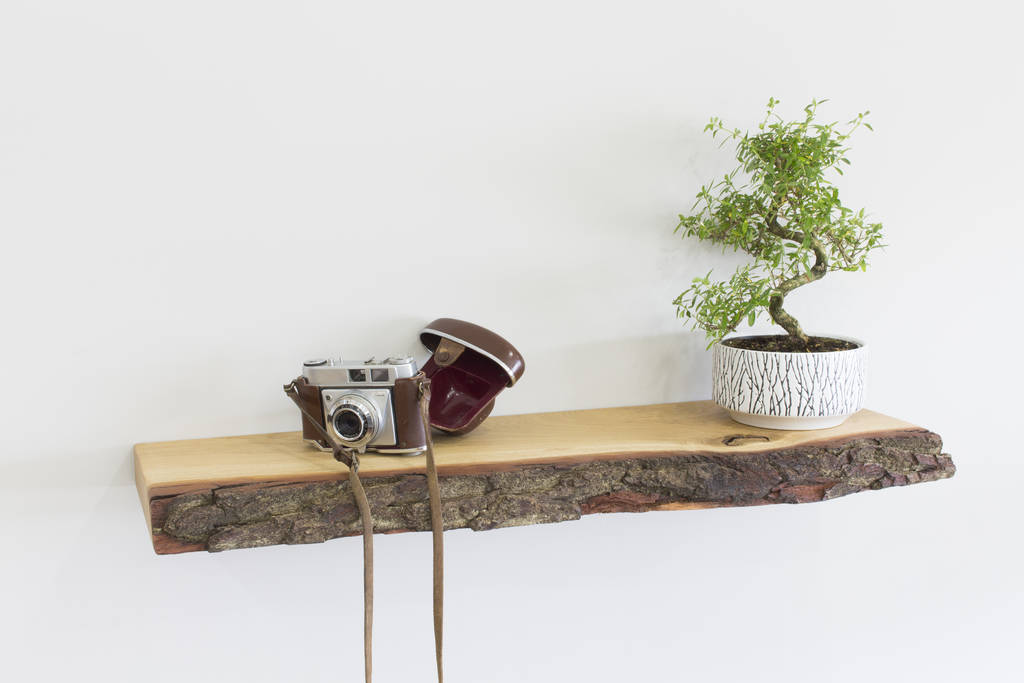 original bark edge solid oak floating shelf