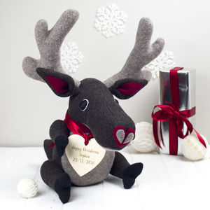 Handmade, Personalised Christmas Soft Toy Reindeer - traditional toys & games