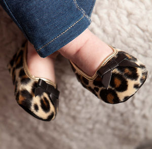 Grace Leopard Print Fur Fabric Slipper Shoes For Babies - new baby gifts