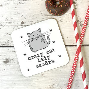 'Crazy Cat Lady' Personalised Wooden Coaster - placemats & coasters