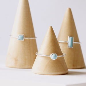 Silver Geometric Turquoise Rings