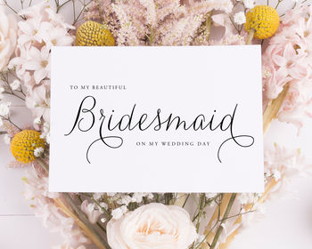 To My Bridesmaid Card, Thank You Card | Large 5x7