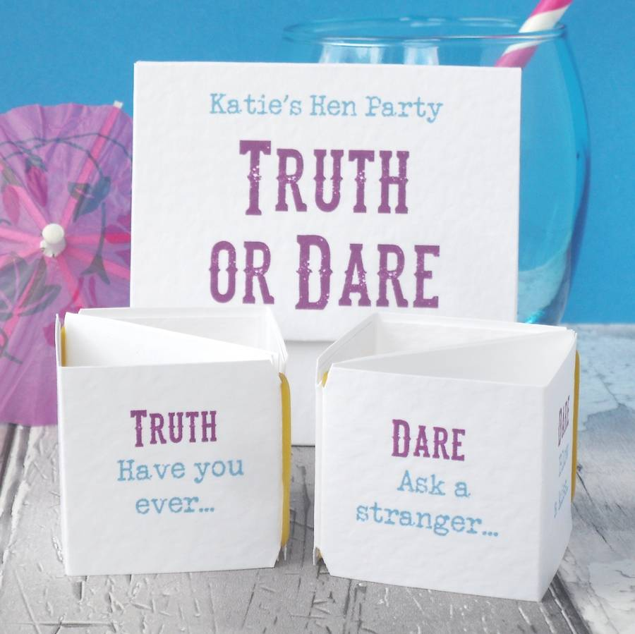 personalised hen party \'truth or dare\' game by paperbuzz ...