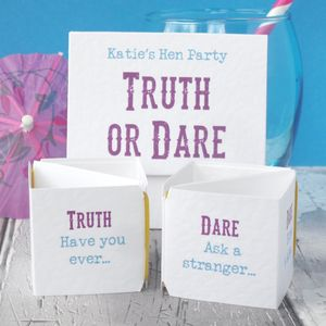 Personalised Hen Party 'Truth Or Dare' Game - hen party styling