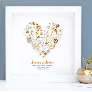 Personalised Golden Anniversary Framed Art