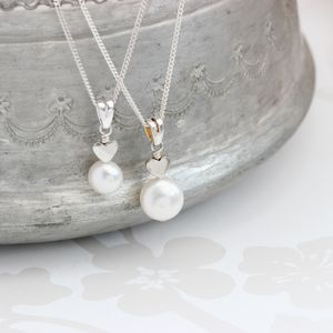 Mama Et Moi White Pearl Pendants With Heart