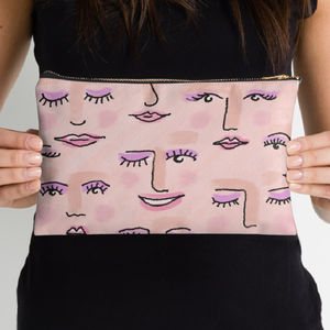 Hand Drawn Faces Pastel Cosmetics Bag