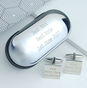 Personalised Silver Cufflinks And Box - wedding thank you gifts