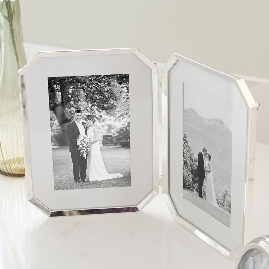 Polished Nickel Hinged Double Picture Frame