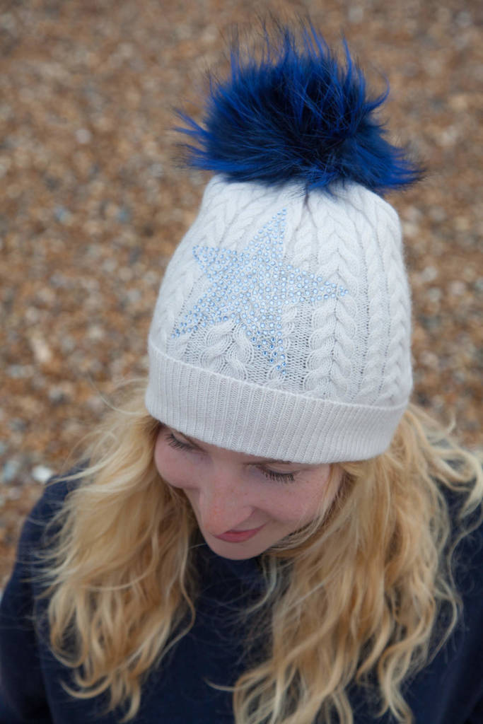 Cashmere Cable Beanie With Blue Star And Faux Fur Pom